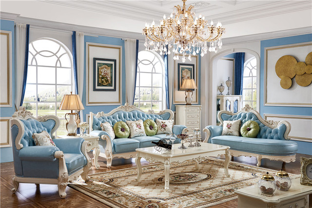 French Leather Sofa Living Room Sectional European Style