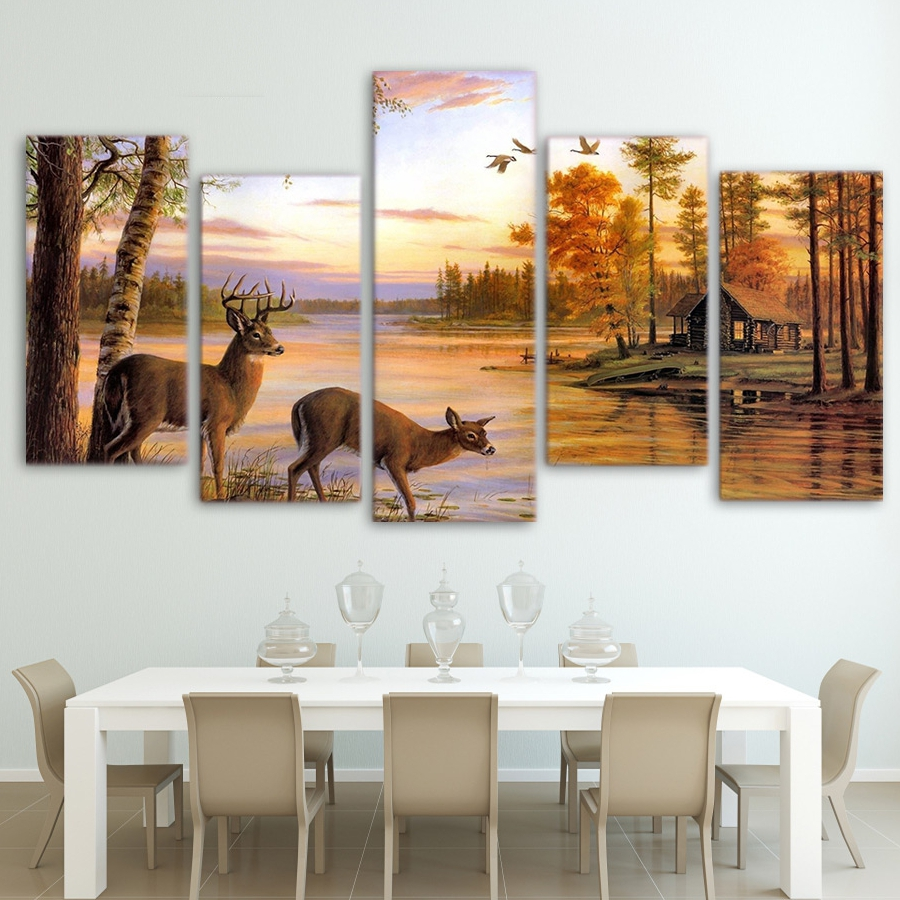 online buy wholesale deer drinking from china deer drinking canvas wall art frame home decor pictures 5 pieces forest animal deers painting antelope to drink