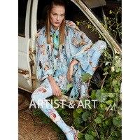 Svoryxiu High End Custom Summer Silk Blouses Shirts Women's Charming Floral Angel Print Runway Tops Blouse 2018