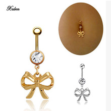 Cute Nomoving Silver Bowknot  Mother's Day Gift 14G Belly Button Ring Gold Bow Bowtie Banana Piercing 40mm Body Jewelry