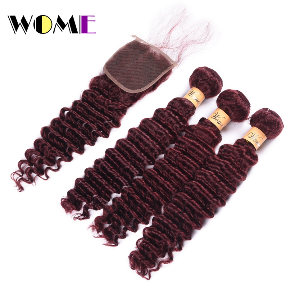WOME Pre colored Deep Wave Bundles With Closure 99j 3 Pcs With Closure Raw Burmese Hair