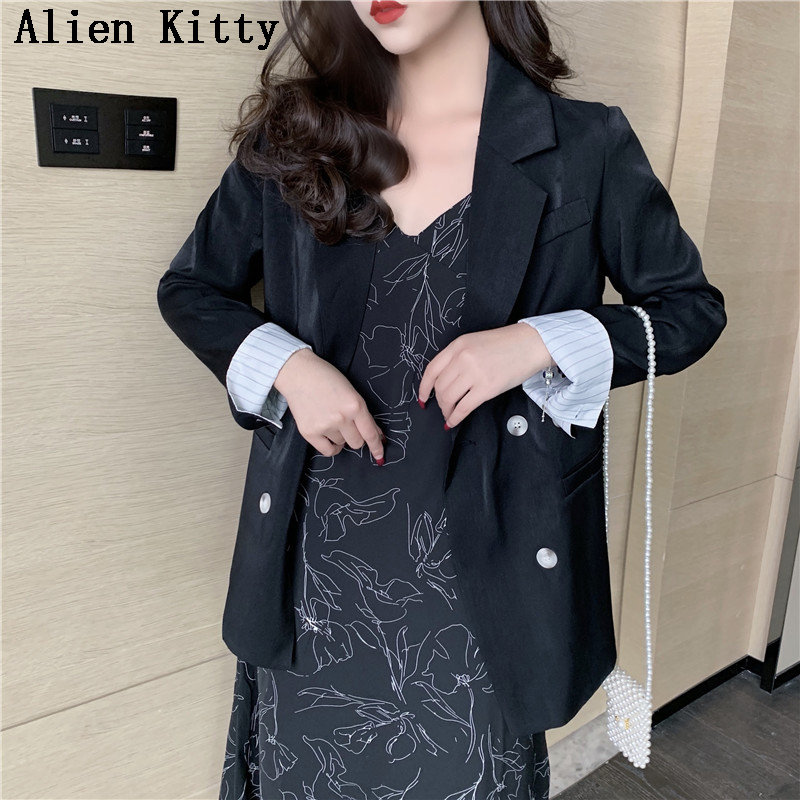 Alien Kitty New Casual Fresh Female High Quality Office Lady Long Sleeve Single Breasted Solid Vintage Notched Blazers 2 Colors