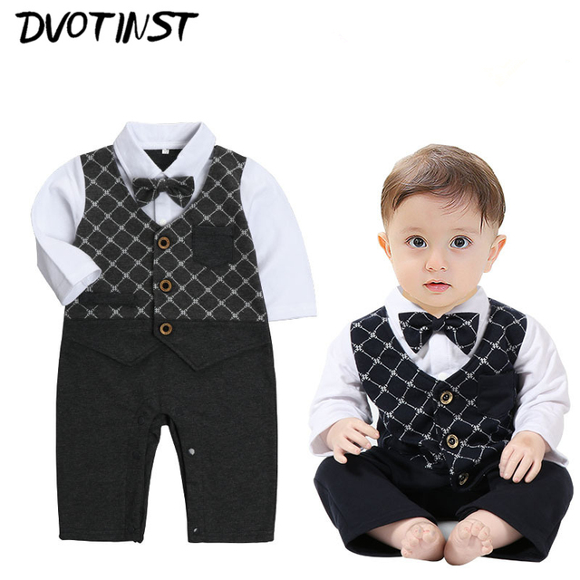 cd9f514fe Baby Boys Clothes Full Sleeve Gentleman Bow Tie Romper Outfit Infantil  Toddler Jumpsuit Party Birthday Wedding Clothing Costume