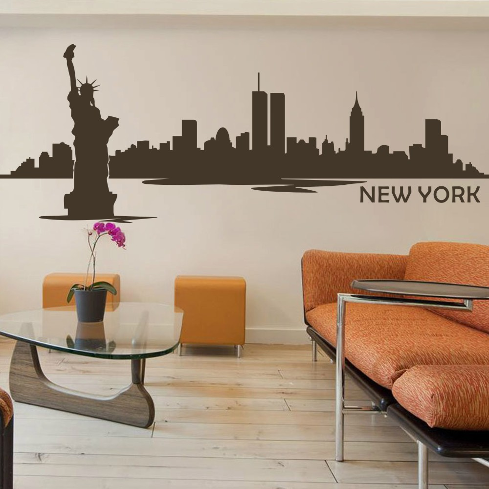 Battoo new york wall decor city skyline silhouette wall for New york home decorations