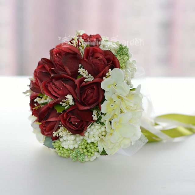 Online Shop 2018 Fashion Korean Style Artificial Flowers Burgundy     2018 Fashion Korean Style Artificial Flowers Burgundy Roses Can Use As  Bride Holding Flowers High Quality Wedding Bouquet