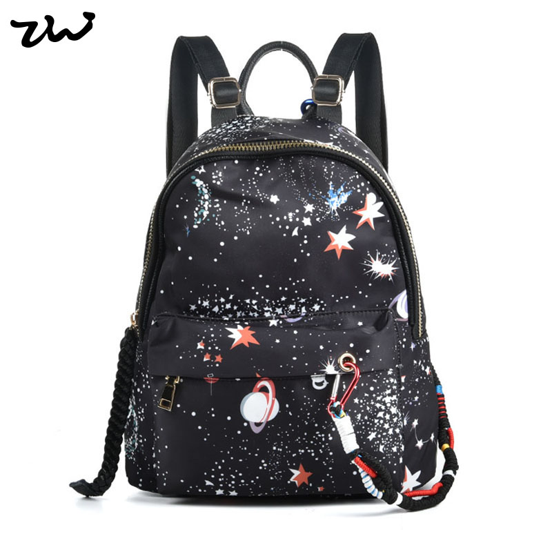 ФОТО ZIWI Brand New Preppy Style Galaxy Scholl Backpack Genuine Leather& Oxford Stronger Knapsack Top Top Quality Black Color 1021