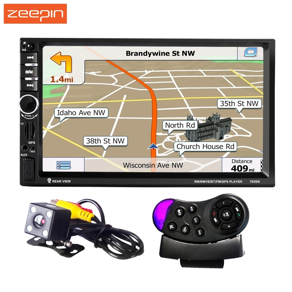 2 DIN 1080 P Univeral 7020G Car DVD Video Player 12 V Touch Screen di Navigazione GPS Con Telecomando retrovisore Della Macchina Fotografica disponibile