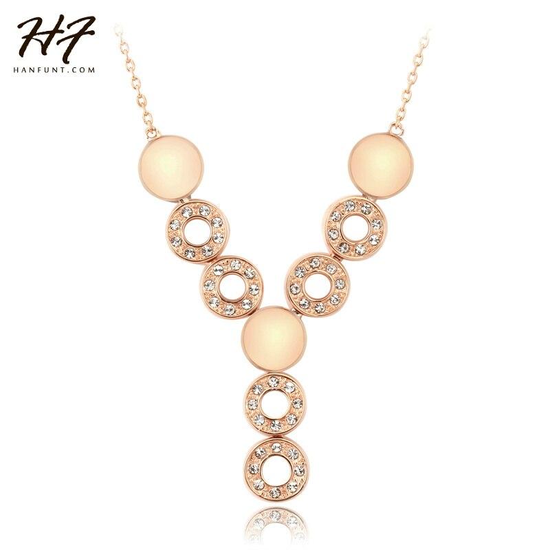 Fashion Necklaces for Women Rose Gold Color Fancy Design Circles ...