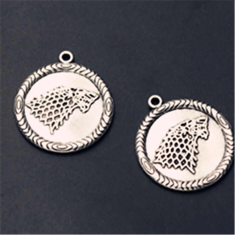 4 pièces Antique argent hiver est à venir charme tablettes rondes en alliage pendentif bricolage en métal boucles d'oreilles collier bijoux accessoires faits à la main