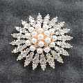 Broche de Cristal de moda de Luxo Banhado A Ouro Imitação de pearl Broches Pinos Cachecol Acessórios Mulheres Jóias P56