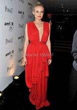Tiefem V-ausschnitt Diane Kruger Promi-kleider 2016 Chiffon Vestidos De Celebridade Abend Lange Kleider für Parteien Kostenloser Versand