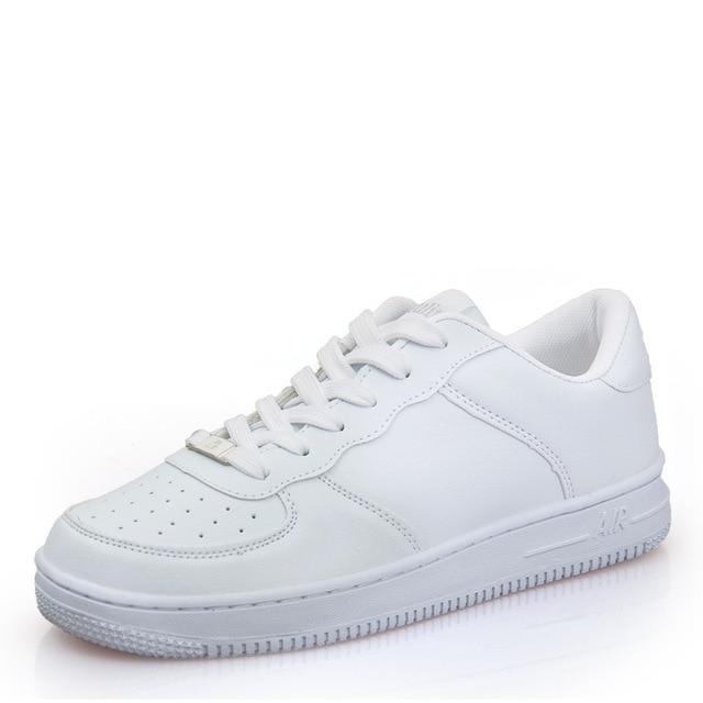 White Fabric Flat Shoes