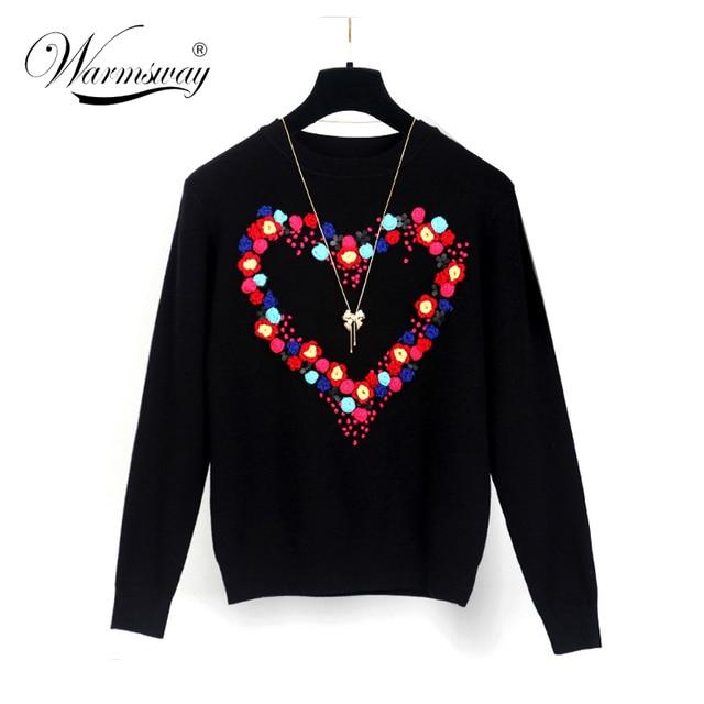 Luxury Brand Дизайнер Взлетно-Посадочной Полосы Свитер Женщины элегантный сердце pattern пуловеры трикотаж стильный Вскользь Тонкой трикотажные Топы WS-086