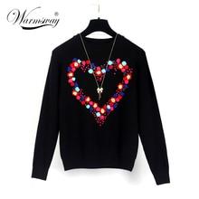 Luxury Brand Designer Runway Sweater Women elegant heart pattern pullover knitwear stylish Casual Slim knitted Tops WS-086