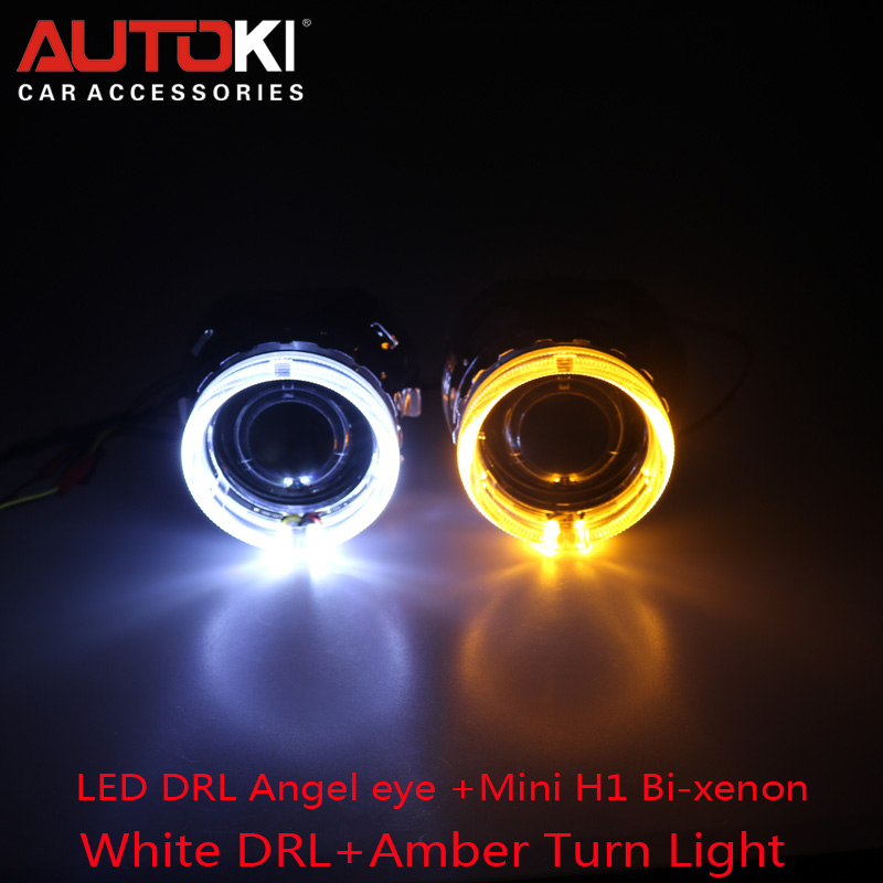 Free Shipping 2.5 HID Bi-xenon Projector Lens with Dual Color Led Angel Eyes Shroud for Auto Headlight H1 H4 H7 H11 9005 9006 safego 2 5inch hid bixenon projector lens kit bi xenon with shroud bi xenon lens for h1 h4 h7 h11 9005 9006 car hid headlight