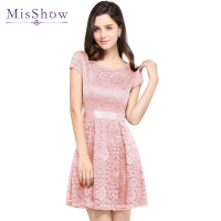 2019 Cheap Homecoming Dress Pink Royal Blue Black A line Mini Short Cocktail Party Dress Above Knee short sleeve Lace Dresses