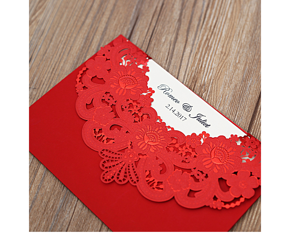 100pcs New Arrival Horizontal Laser Cut Wedding Invitation with Gold ...
