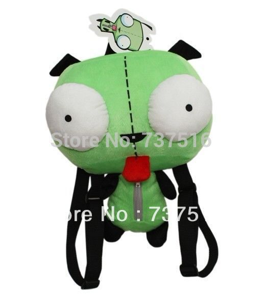 Ny Alien Invader Zim 3D Eyes Robot Gir Cute Stuffed Plysj Ryggsekk Green Bag Xmas Gift 14 inches