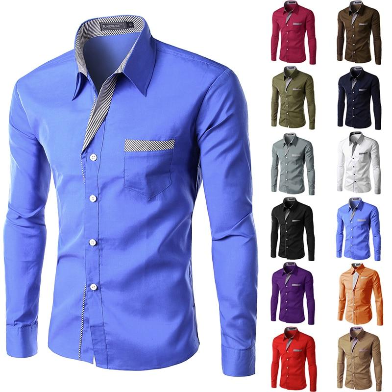 2015 New Dress Fashion Quality Long Sleeve Shirt Men