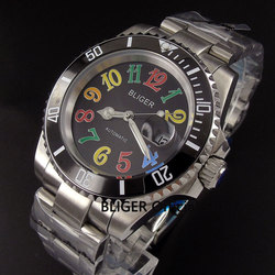 Klasyczne BLIGER 40 MM czarna tarcza ceramiczna ramka świetliste dłonie MIYOTA mechanizm automatyczny zegarek męski Sapphire kryształowe zegarki B101