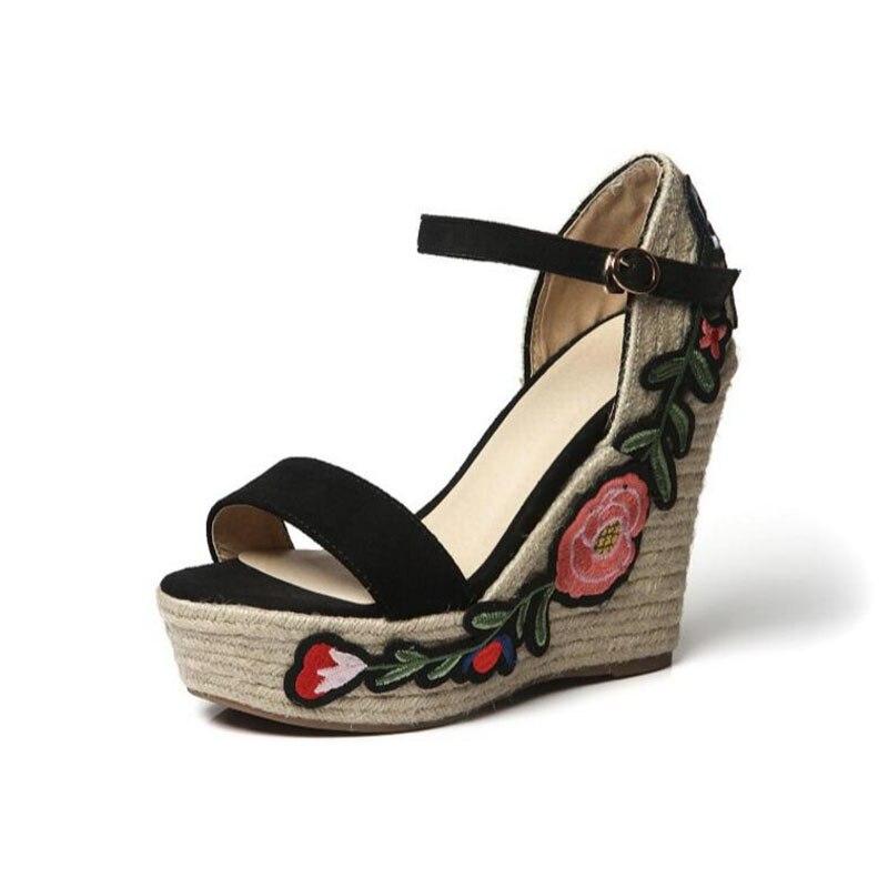 forme Femmes De Gladiateur rouge Sandales rose Ethnique noir Haute Coins Chaussures 39 Beige Lin Plate Taille Broderie Dames Bohème Talons 35 Extrême Pompes I5q0A