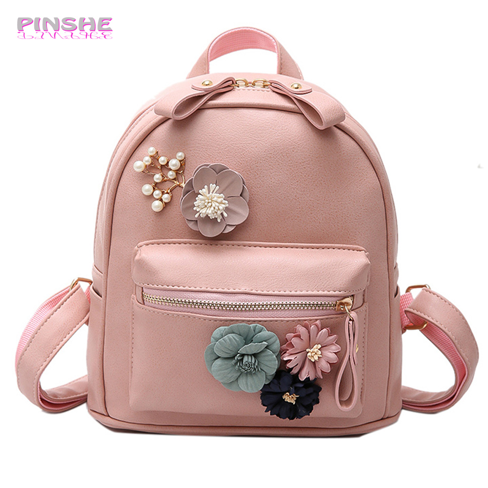 PINSHE Fashion Pink Rivet Medium Beading School Flowers Backpack Women Shoulder Student Bag Leather PU Floral Bag Women Backpack