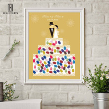 Bride Groom Standing In The Cake Canvas Fingerprint Signature Guest Book Date Free Name For Wedding Engagement Party Gift Decor wedding balloon canvas print diy fingerprint signature guestbook for wedding bride groom custom name date party decor