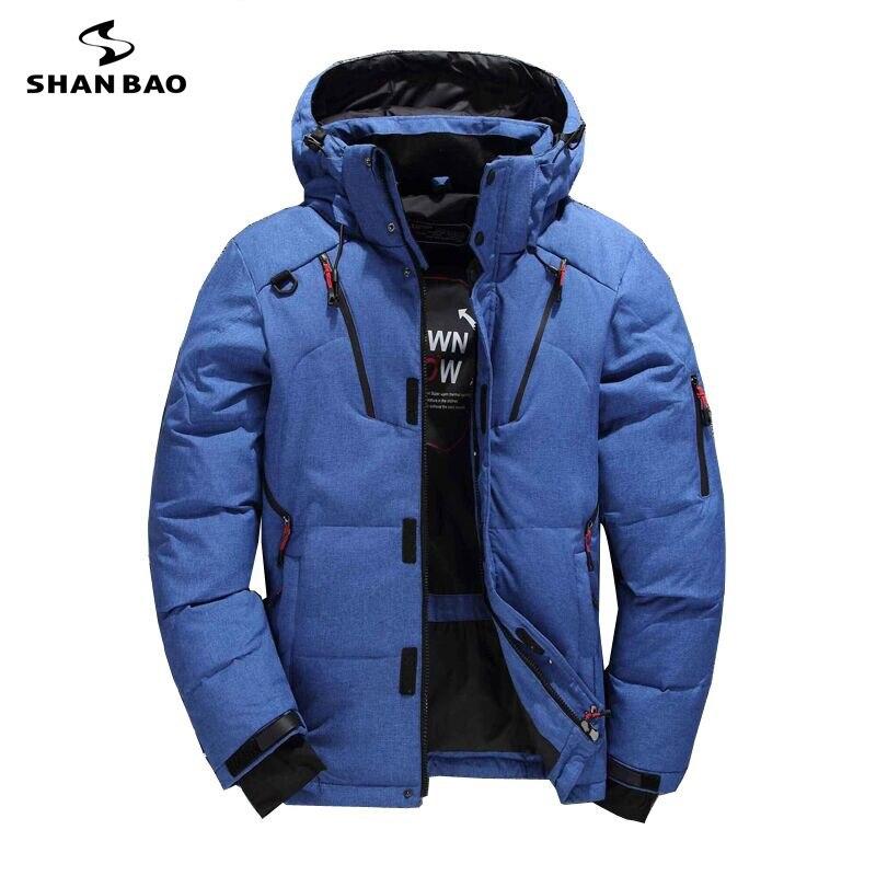 SHANBAO marca moda casual grueso abajo chaqueta negro verde azul orange invierno cálido pato blanco abajo de los hombres con capucha de down chaqueta