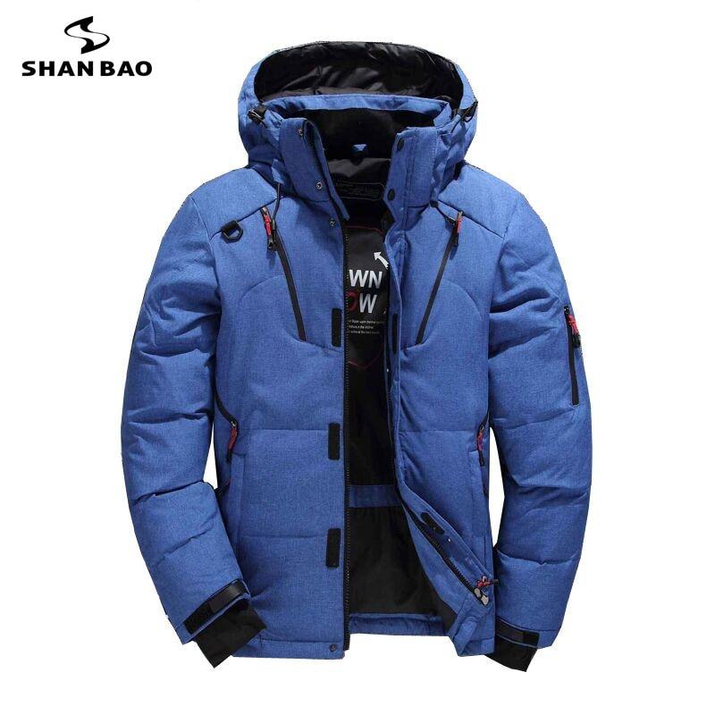 SHANBAO marque épais mode décontracté doudoune noir vert bleu orange hiver chaud blanc duvet de canard homme à capuche veste