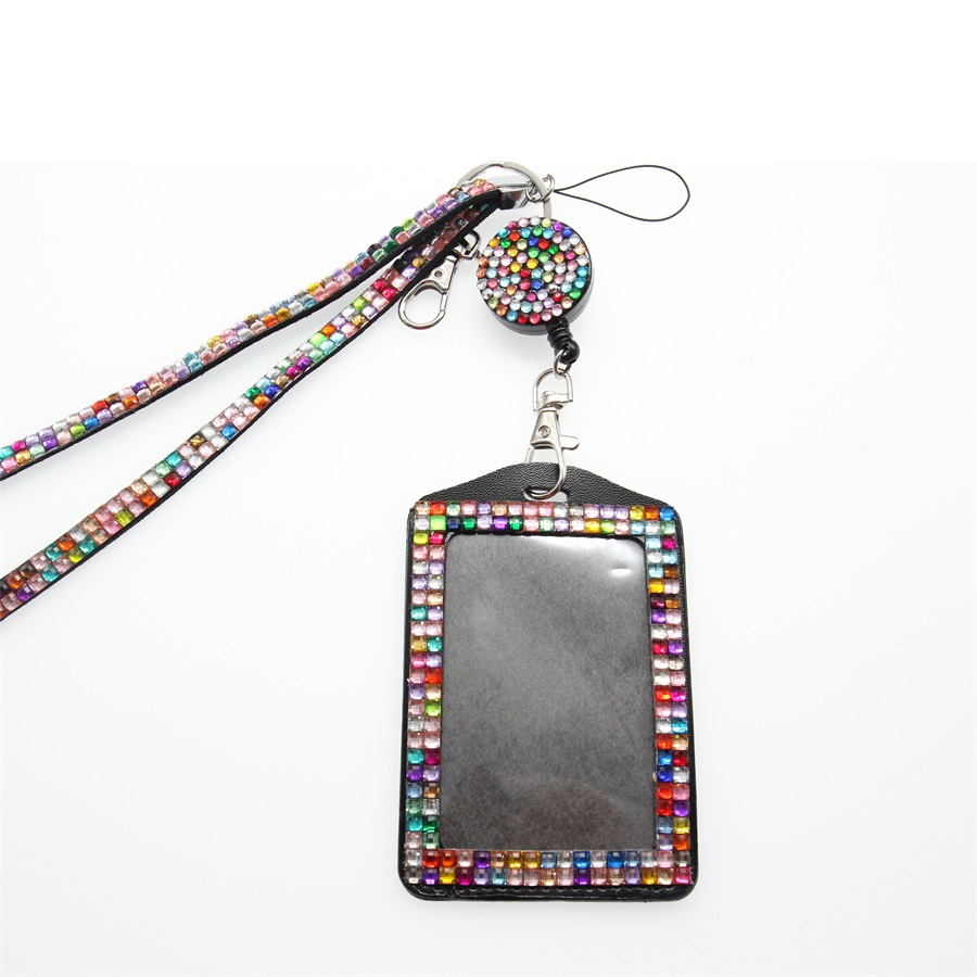 10 pieces free shipping Wholesale Rhinestone Retractable Id Badge Holder with lanyard ID Card Holder