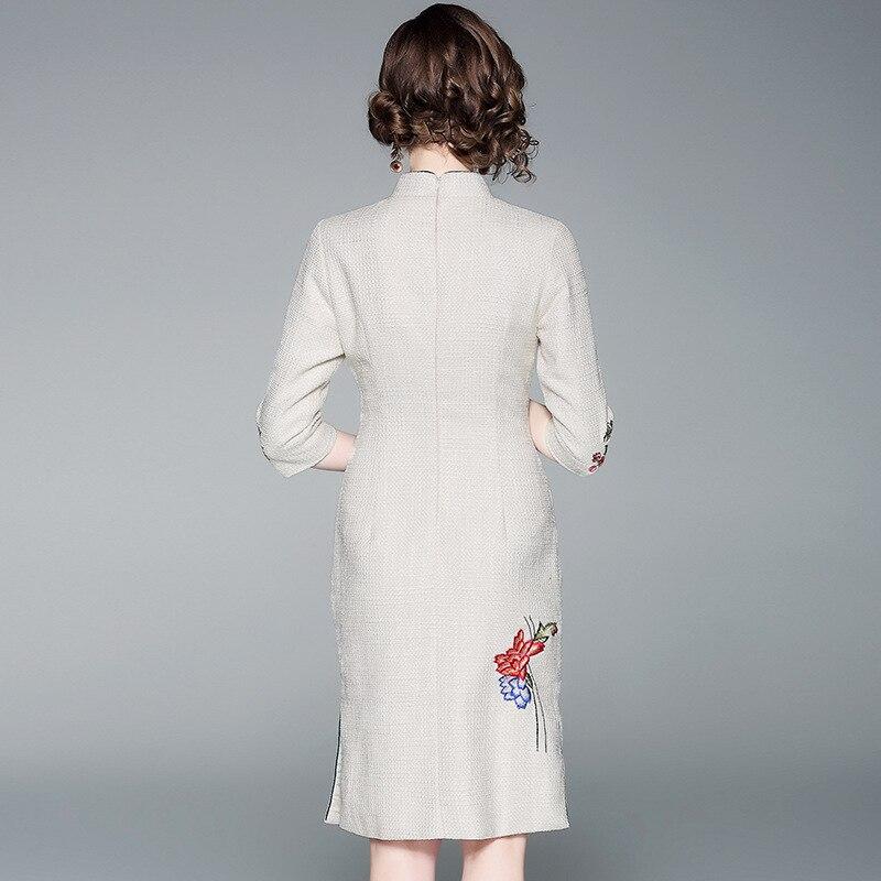 Robes Marque Partie Femmes Élégante 2019 Nouvelle Broderie Coton Chinois Robe Femme Floral Moulante Qipao Automne Style Printemps De 5LRj43A