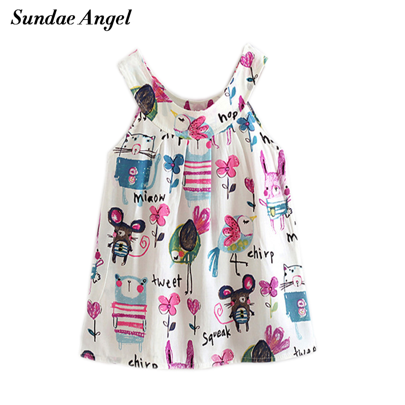 Sundae Angel New Kids dresses for girls Summer Sleeveless Print Beach Cool Baby dress newborn Children Dress Clothing 2-6 Years скатерть angel ya children tsye zb266 88