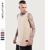 INFLATION 2017 Summer New Style Cotton Hip Hop Extra Long Longline Curved Hem Tank T Shirts