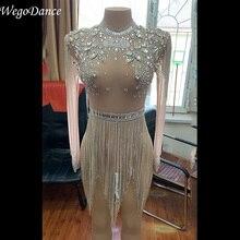 Ropa de mujer caliente Sexy trajes malla Bodysuit brillante strass cadenas flecos club escenario traje ver a través de cristal mono