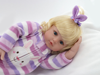 Fashion blonde princess doll soft silicone reborn babies for Girls Toys wear Purple striped plush clothes so cute play house toy