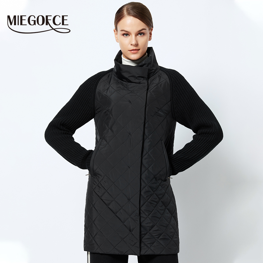 MIEGOFCE 2019 Spring-Autumn Women Jacket With a Collar Knitted Sleeve Warm Jacket New Collection of Designer Women's   Parka   Coat