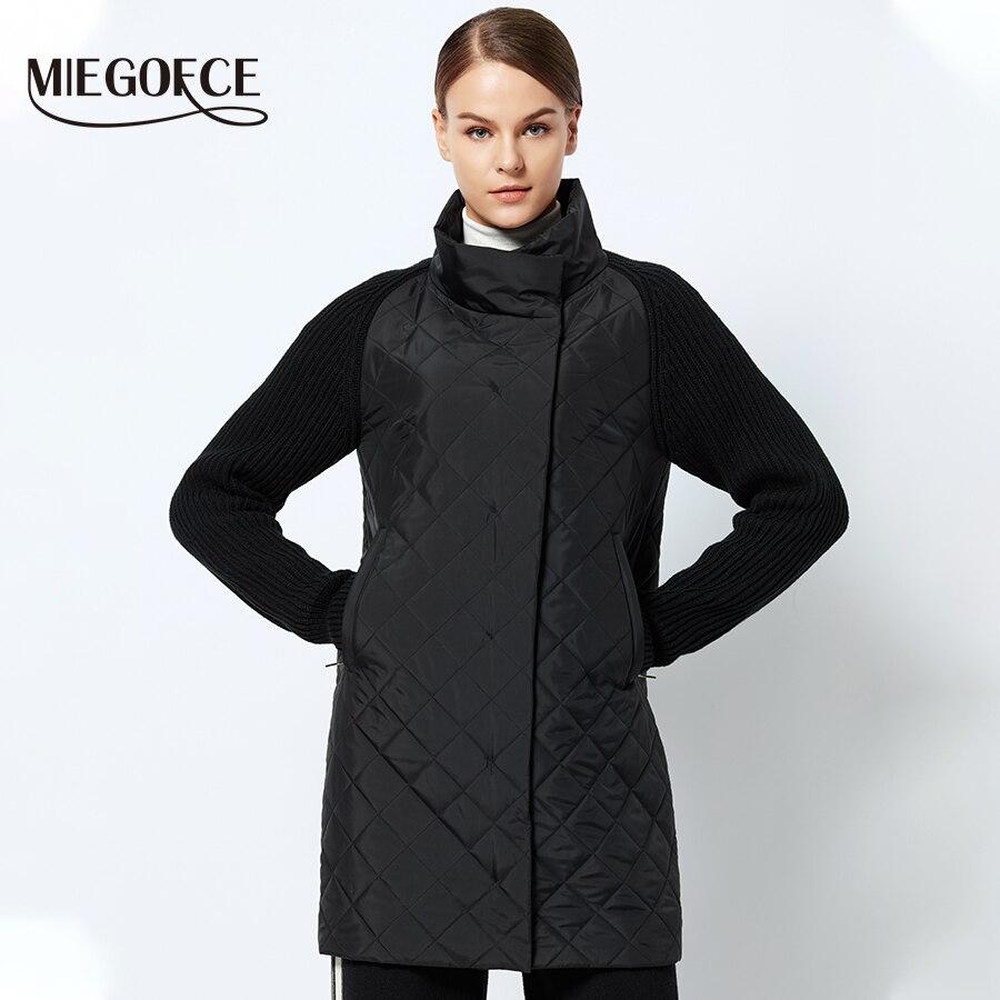 MIEGOFCE 2019 printemps-automne veste femme avec un col tricoté manches veste chaude nouvelle Collection de manteau de Parka femme de Designer