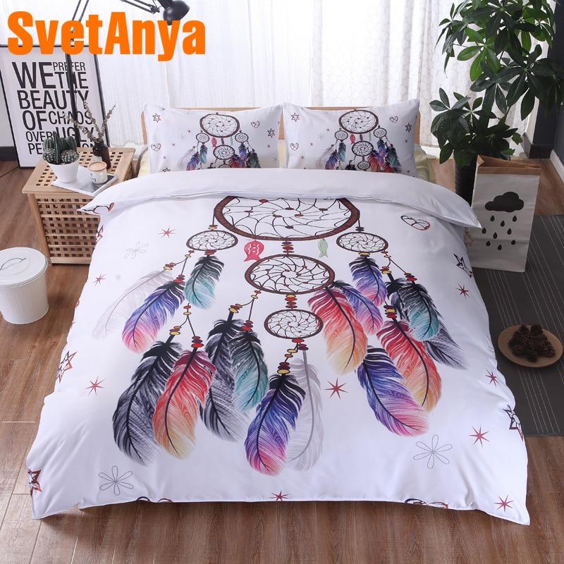 Svetanya Pillowcase+Quilt Cover 3pc Bedding Set (no Sheet) Dreamcatcher Feathers Print Bedclothes