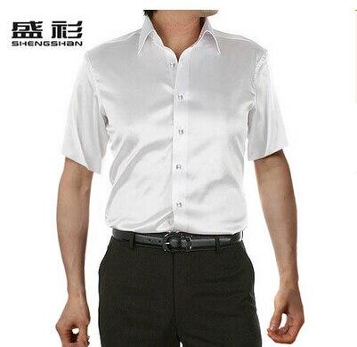 ZOEQO, новинка, брендовая летняя стильная Высококачественная шелковая мужская рубашка с коротким рукавом, повседневная мужская рубашка, camisa masculina camisas hombre - Цвет: 15 white