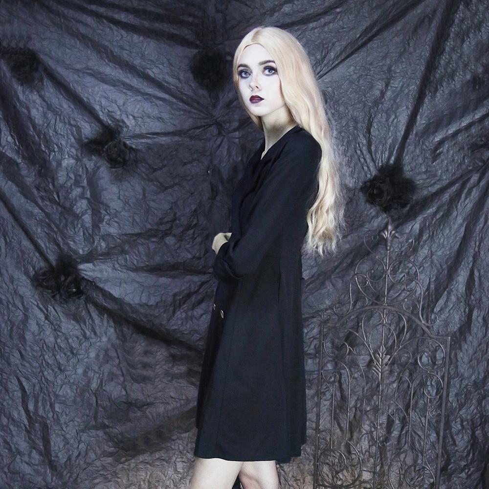 Femmes Rétro Moulante Bureau Longues Dames Filles Automne Casual V Vintage Gothique Vêtements Mince Cou Noir Robe Manches OPkZiuTX