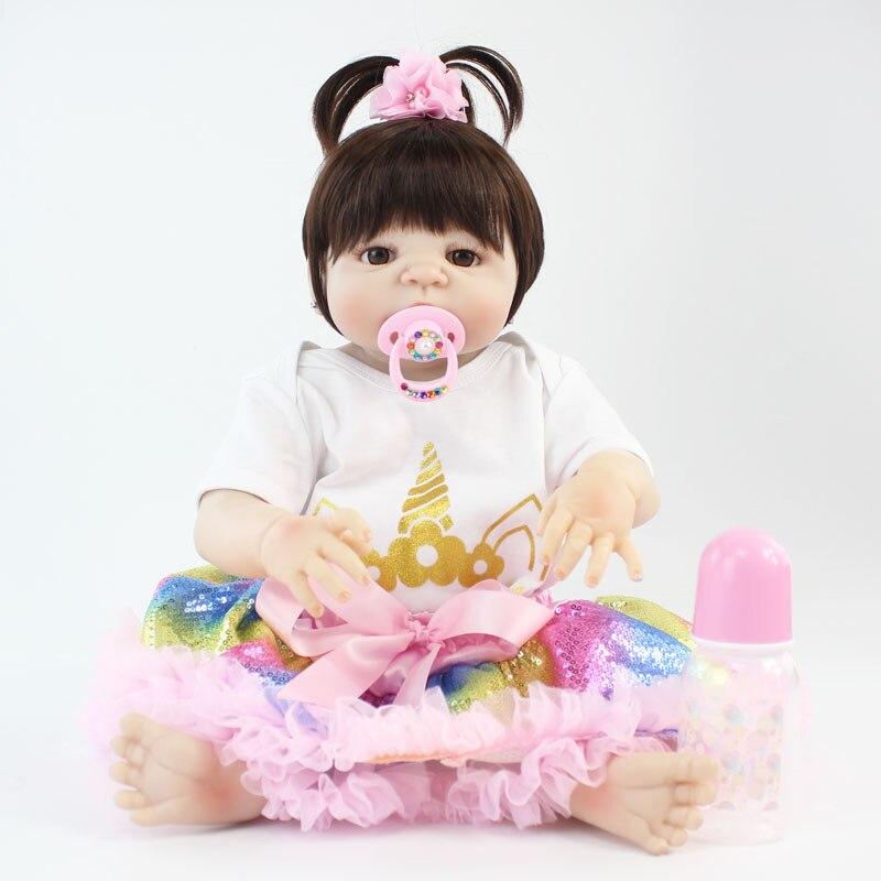 55 centímetros Full Body Silicone Renascer Baby Doll Brinquedo 22 polegada Vinil Recém-nascidos Bebês Princesa Com Roupas Unicórnio Menina Bonecas bebe vivo