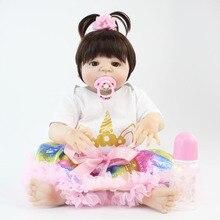 55 см Полный тела силиконовые Reborn Baby Doll игрушки 22 дюймов виниловые Новорожденные принцесса младенцы с единорогом Одежда для девочек Bonecas Alive Bebe