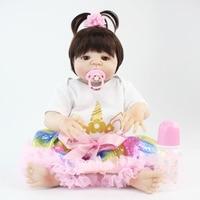 55cm Full Body Silicone Reborn Baby Doll Toy 22 inch Vinyl Newborn Princess Babies With Unicorn Clothes Girl Bonecas Alive Bebe