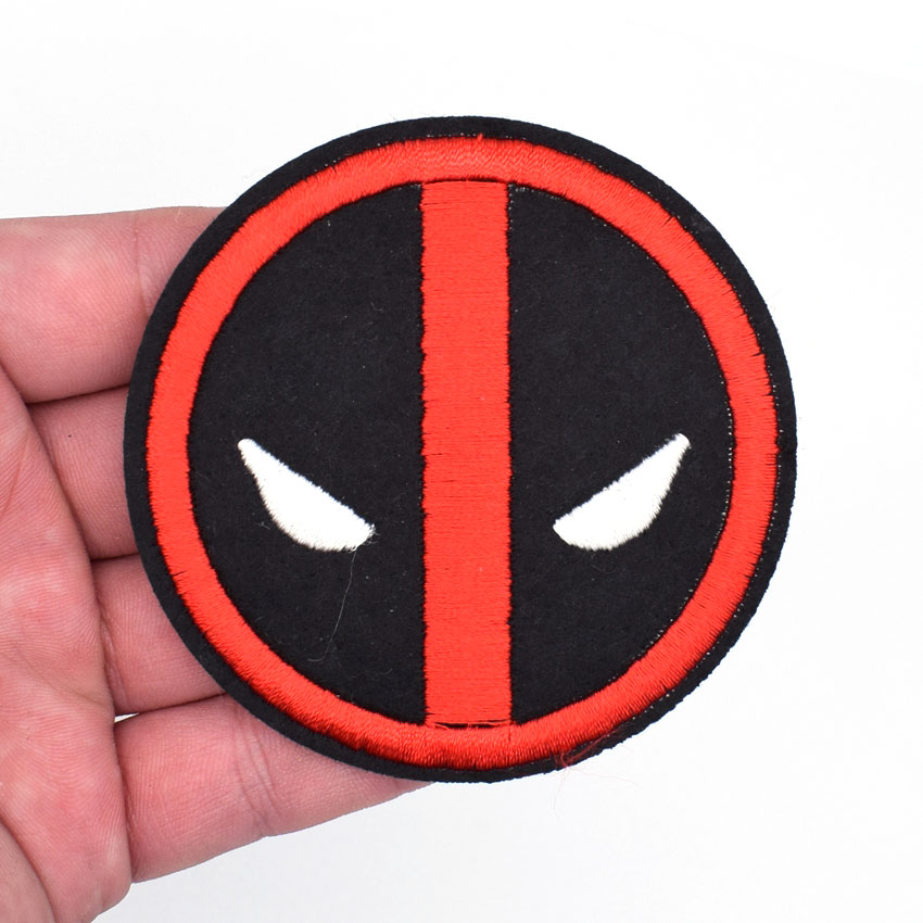 1pcs Deadpool Logo Dead Pool Embroidered Emblem punk rockabilly applique naaien op opstrijkbare patch