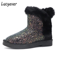 Lucyever Fashion Women Glitter Bling Snow Boots Thick Fur Falts Ankle Boots 2017 Winter Casual QSuper
