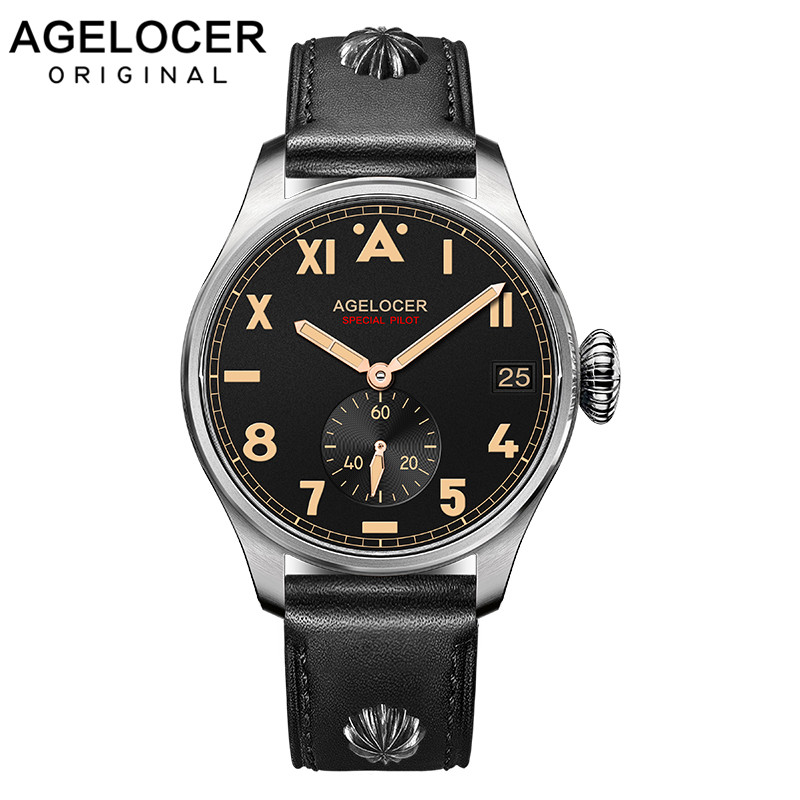 Original AGELOCER Brand Men Authentic Pilot Male Watch Costly Dive100M Auto Date Outdoor Men Shockproof Waterproof
