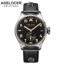 Original AGELOCER Brand Men Authentic Pilot Male Watch Costly Waterproof 100M Auto Date Outdoor Men Shockproof Waterproof Watch original acf ac 7206u 18 2 0mm 100m tape new date