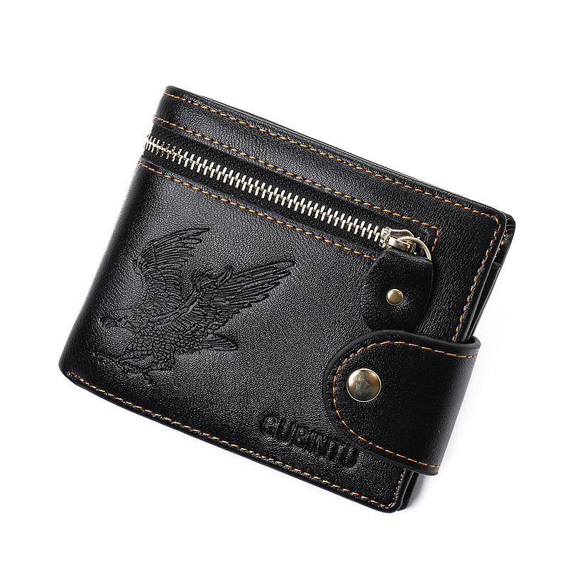 GUBINTU Fashion Men Wallet Vintage Eagle Print Wallet Short PU Leather Card Holder Thin Male Clutch Bags Coin Purse finger print pu wallet