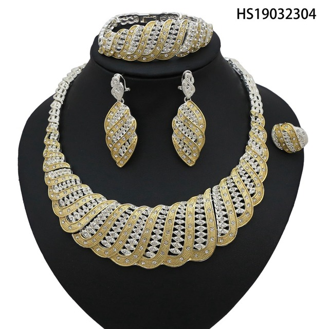 7ad9dda0a2 Yulaili 2019 New Dubai Jewelry Set Simple Gold And Silver With Crystal For  Women Party Wholesale