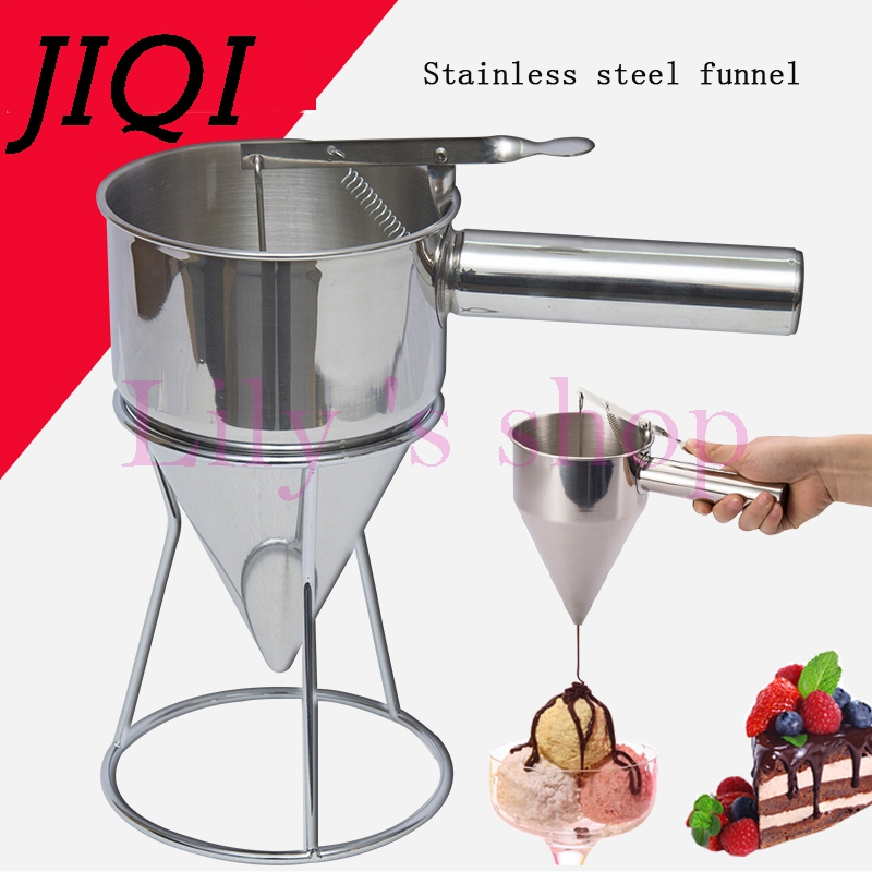 JIQI Octopus balls filler Takoyaki stainless steel filling funnel manual waffle batter separator chocolate cream baked hopper jiqi manual food filling machine hand pressure stainless steel pegar sold cream liquid packaging equipment shampoo juice filler